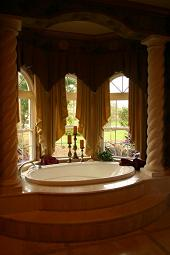 spa bathroom with columns