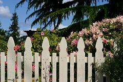decorative white picket fence