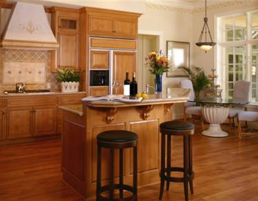 Elegant-kitchen-with-wood-floor-black-leather-stools-wood-countertop-and-handing-lamps