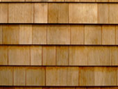 A close up photo of wood siding.