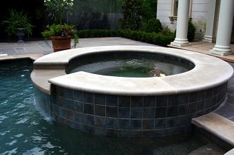 hot tub waterfall in pool