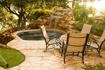 patio spa with rocks