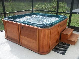 wooden jacuzzi spa